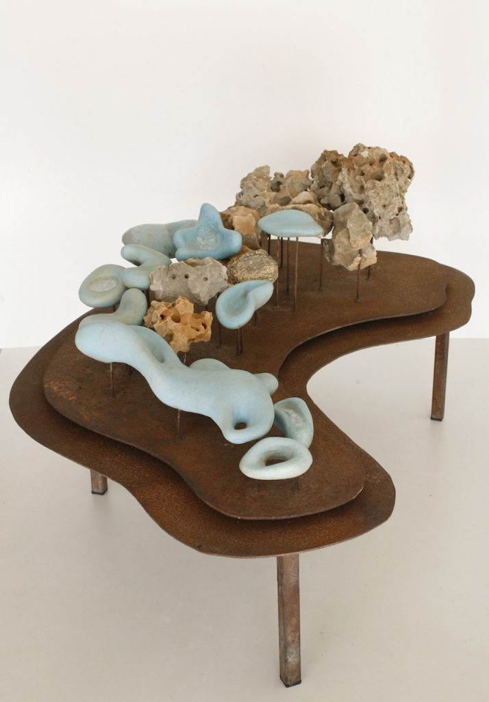 Floating Island, 2003, glazed stoneware, fossil limestone and steel, 70 x 40 x 35 cm