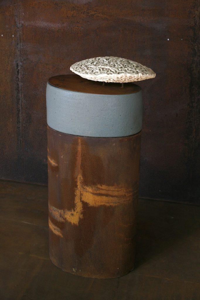 Antillarum, terra sigilatta and oxides, glazed stoneware and steel, 50 x 35 x 105 cm. 2007