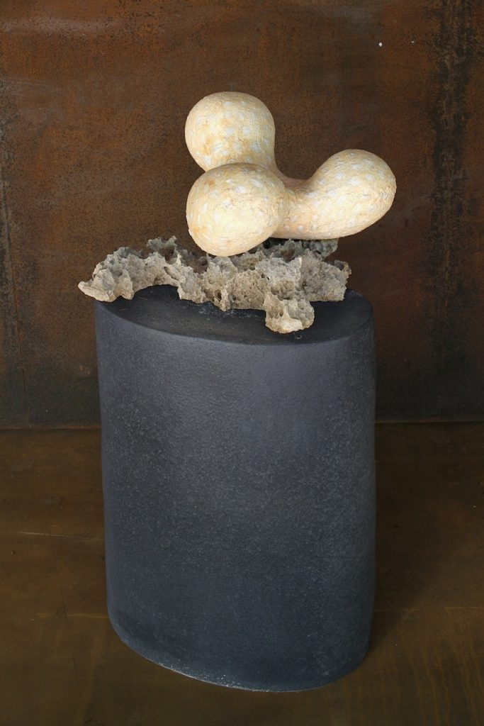 Philippinensis, partly glazed earthenware, fossil limestone and glazed stoneware, 50 x 45 x 106 cm. 2007
