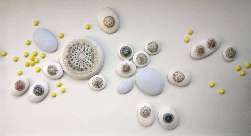 Dance of the Radiolarians_2012_glazed eartheware with ceramic decals_260x12x140 cm