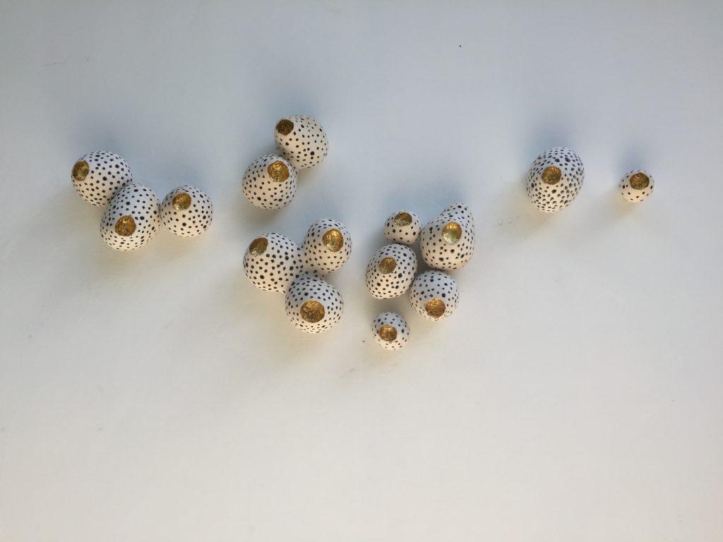 Tunicate Buds, glazed earthenware with gold leaf, 165 x 16 x 70 cm