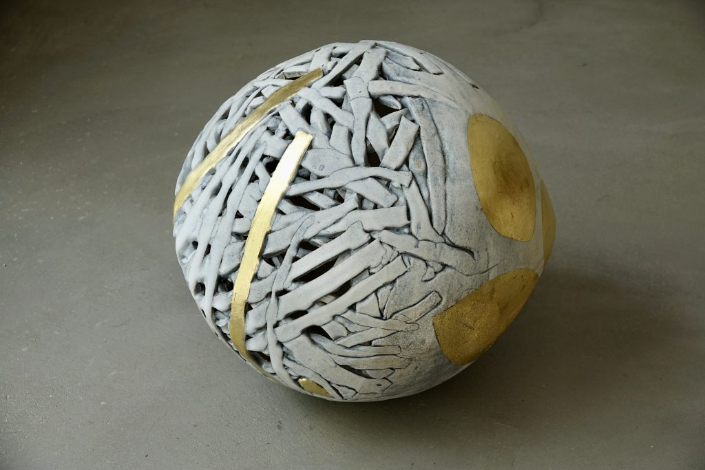 Spheres and Stripes, 2020, glazed stoneware and gold leaf, 45 x 40 x 40 cm