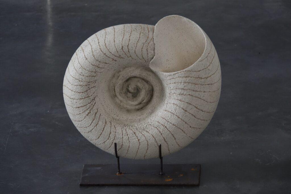 Australorbis, 2020, stoneware with slip and oxides, steel, 45 x 15 x 48 cm