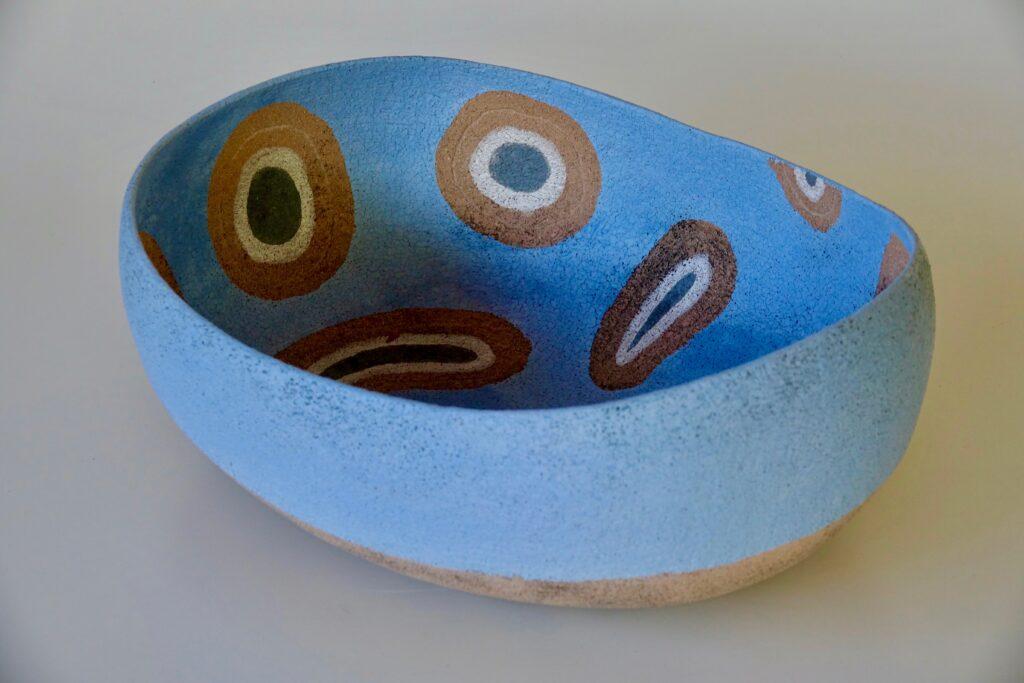 Big blue bowl, 2017, stoneware with slib decoration, 50 x 39 x 18 cm